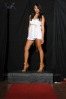 A fashion model poses in a Mona Lisa Boutique dress during the Fashion Friday show at Studio J